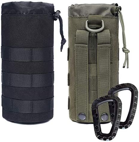 Novemkada Water Bottles Pouches 1000D Tactical Molle Drawstring 32OZ Hydration Carrier Bag Black product image