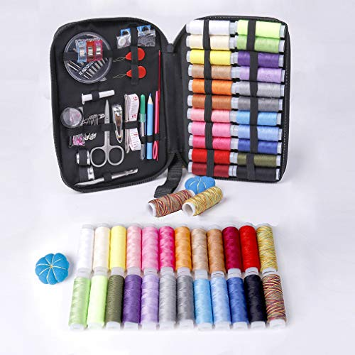 Sewing Kit Basic,DIY Mini Sewing Supplies Set,Adults,Travel,Beginners,Kids,Handheld,Thread,Sewing Clips,Needle,Pin Cushion,Button,Zippered Sewing bobbins Box,Gift,Sew Repairs,Survival Preparedness