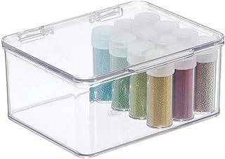 mDesign Boite de Rangement à Couvercle (Petite) - Caisse de Rangement Transparente – bac de Rangement Pratique en Plastiqu...