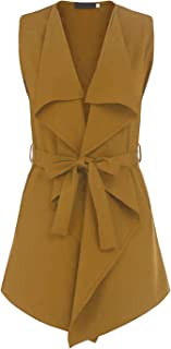 UUANG Women's Trench Cardigan Casual Waterfall Collar Pockets Wrap Sleeveless Vest w/Belt