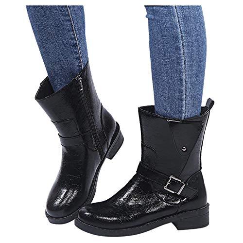 Luckycat Botas Mujer 2020 Botines Zapatos de Cordones Vintage Otoño Botas Tacón Plano Cómodas Mujeres Botas Cortas con Rojoonda Zapatos Casuales 37-43