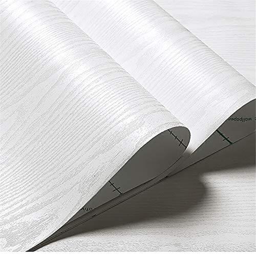 Decormax Tapete mit Holzstruktur, matt, weiß, Kontaktpapier, selbstklebend, zum Abziehen und Aufkleben, ablösbarer Rückspiegel, Arbeitsplatte, Küchenschrank (61 x 500,4 cm, weiß)