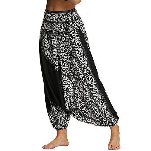 Nuofengkudu Mujer Pantalones Anchos Hippies Estampados Baggy Comodos Cintura Alta Tailandeses Yoga Pants Casual Playa Fiesta Verano (Negro Patrón C,Talla única
