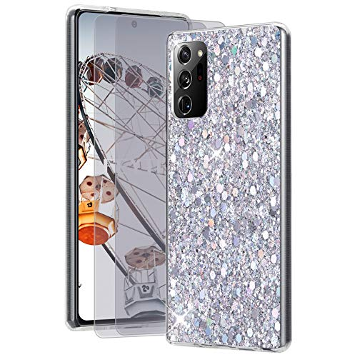 Feyten Kompatibel mit Galaxy Note 20 Ultra 5G/4G Hülle mit HD-Schutzfolie [2 Stück],Bling Glänzend Glitzer Weich TPU Silikon Etui Cover Schale Schutzhülle für Samsung Galaxy Note 20 Ultra 5G/4G(Silber