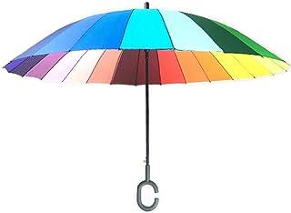 Light Parasol Automatic 24 Bone Long Handle Rainbow Umbrella Hands-Free Reinforced Double Triple Straight Umbrella Portable (Color : B)