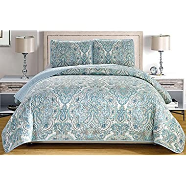 3-Piece Fine printed Oversize (115  X 95 ) Quilt Set Reversible Bedspread Coverlet KING SIZE Bed Cover (Pale Blue, Grey, Paisley)