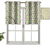 Hiiiman Panel de cortina de bloqueo UV con cenefa, estilo patchwork, colorido, juego de 1, 91,4 x 45,7 cm para habitación de niños