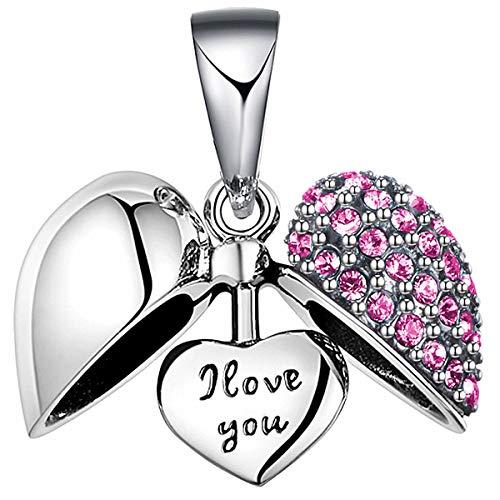 Lovans 925 Sterling Silber I Love You Herz Kristall Charm Bead für Pandora Armbänder (Pink)