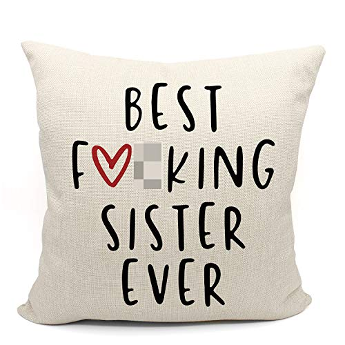 Mancheng-zi Best Sister Ever Throw Pillow Case, Sister Birthday Gift, Gifts for Soul Sister, Sister Gifts for Sister in Law, Sister Room Decor, 18 x 18 Inch Linen Cushion Cover for Sofa Couch Bed