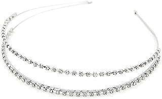 Bullidea Women/Girl Crystal Diamond Double Rows Headband Shining Decorative Hairband Hairpin