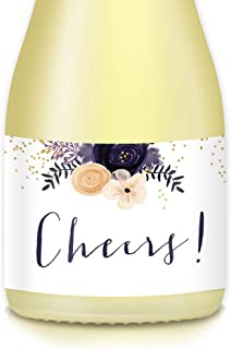 All Occasion Cheers! Mini Champagne & Wine Bottle Labels, 20 Count Elegant Floral Stickers, Graduation, Birthday, Bachelorette Party, Wedding Reception, 3.5