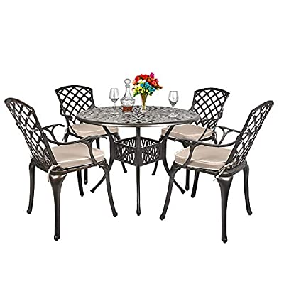 TITIMO 5-Piece Outdoor Furniture Dining Set, All-Weather Cast Aluminum Conversation Set Includes 1 Round Table and 4 Chairs with Khaki Cushions and Umbrella Hole for Patio Garden Deck, Lattice Design