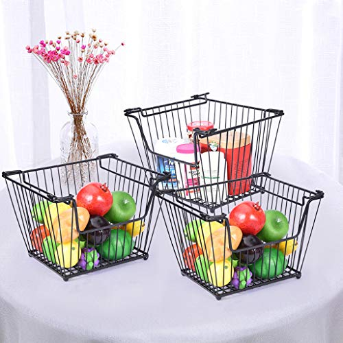 m·kvfa 3 Pcs Nordic Wrought Iron Fruit and Vegetable Home Living Room Decoration Storage Basket Fruit Vegetable Egg Bread Storage Bowl Holder Stand for Kitchen Counter
