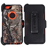 Eight A Wireless Heavy Duty Defender Impact Rugged with Built-in Screen Protector Camouflage Case Cover with Clip for Apple iPhone 6S Plus(5.5 inch) (Orange-Tree-Camo)