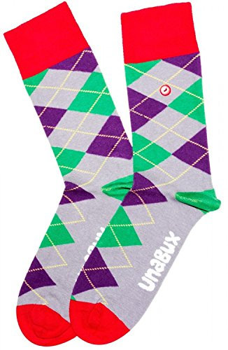 Unabux Socken Strümpfe unisex grau grün lila rot Argyle Motiv, Grösse:36-40;Farbe:mehrfarbig