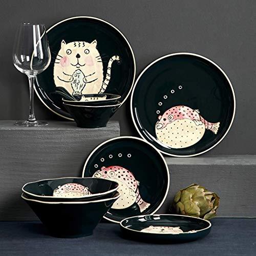 GAXQFEI Cerámica Vajillas, 24 Piezas de Pescado Gato Establecer un Patrón de Porcelana Combinación | Placa/Cuenco/Cuchara - Dibujos Animados de Vajilla para Restaurante