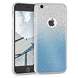 kwmobile Funda Compatible con Apple iPhone 6 / 6S - Carcasa de TPU y Degradado Purpurina en Azul/Plata