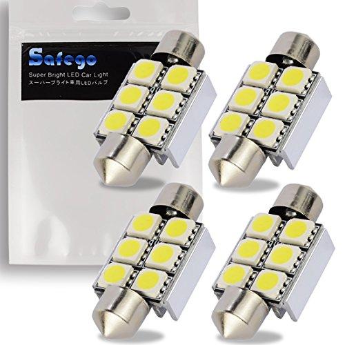 Safego 4x C5W Led Anti Erreur 36mm Blanc 5050 Ampoules 6SMD Dôme Voiture Intérieur LED Lumière DC 12V