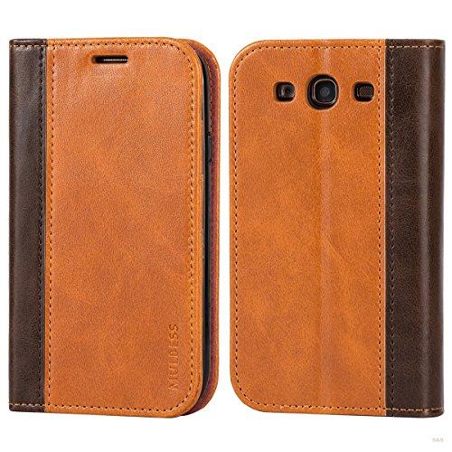 Mulbess Handyhülle für Samsung Galaxy S3 Hülle Leder, Samsung Galaxy S3 Handy Hüllen, mit BookStyle Flip Handytasche Schutzhülle für Samsung Galaxy S3 / S3 Neo Hülle, Braun