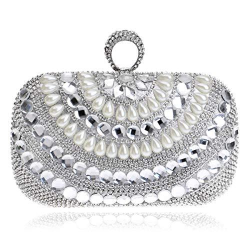 MKHDD Damen Abendtasche mit Perlen-Diamanten, Mini-Schulter-Umhängetasche, Brautkleid, Bankett, Abendtasche, Silber