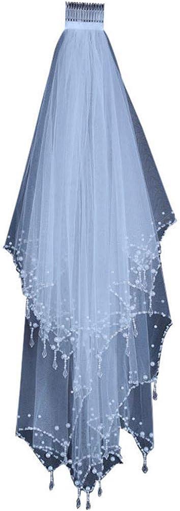 Aimeely Women Elegant Beaded Edge 2 Layers Bridal Wedding Veil With Comb