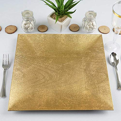 Efavormart 24 Pack 12' Square Wooden Textured Gold Acrylic Charger Plates Wedding Party Dinner Servers Chargers for Decor