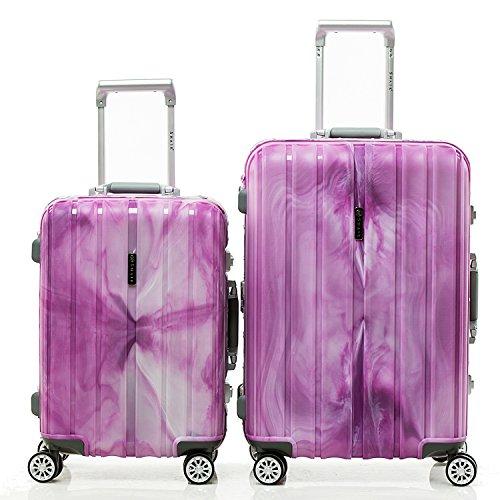 SHAIK SH008 Designer Koffer Serie Marble - DEL 2X TSA Schloss Material Polyphthalamide (Grau, Set) (Lila)