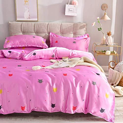 HDBUJ dekbedovertrek voor eenpersoonsbed, schattige kattenprint, een dekbed en twee bijpassende kussenslopen, roze hart voor meisjes