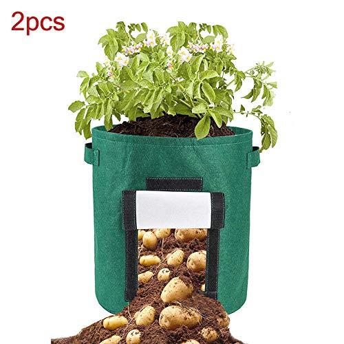 quanjucheer Lot de 2 Sacs de Culture pour tomates, Pommes de Terre, légumes, Pot de Fleurs, Pot de Fleurs, Durable, Bratheable Vert foncé