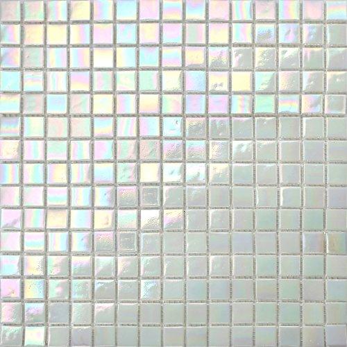 33 x 33 cm perla bianco iridato manto maculato mosaico di vetro piastrelle (mt00131)