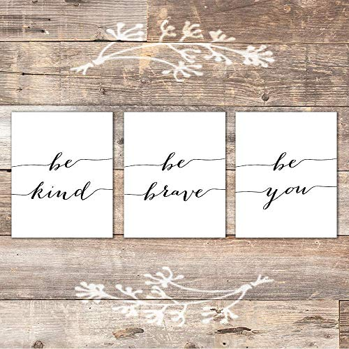 Be Kind Be Brave Be You Art Prints (Set of 3) - Unframed - 8x10 | Inspirational Wall Art