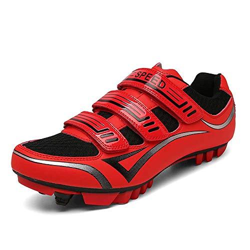 Calzado De Ciclismo para Hombre con Correa De Velcro De Tres Capas, Calzado De Bicicleta De Montaña Antideslizante Transpirable (41,Rojo)
