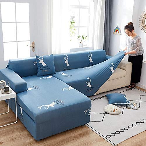 Funda de Silla Antideslizante para Mascotas Fundas de sofá de Esquina Lisas de 2 y 4 plazas para Sala de Estar Spandex elástico,elásticas para sofá en Forma de L 145-185cm and 235-300cm(2pcs)