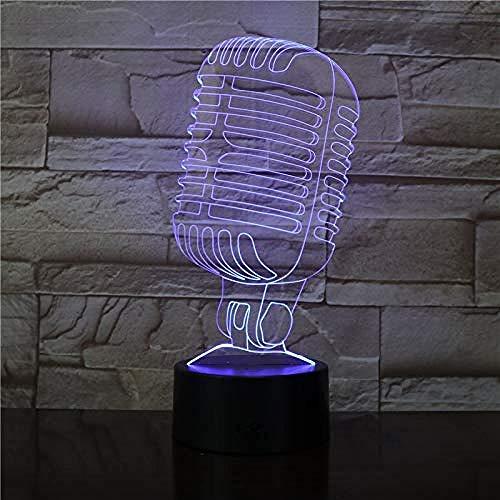 Luz nocturna de 3D Luz De Noche Led Concierto de micrófono mejor regalo de para niños y niñas Con interfaz USB, cambio de color colorido