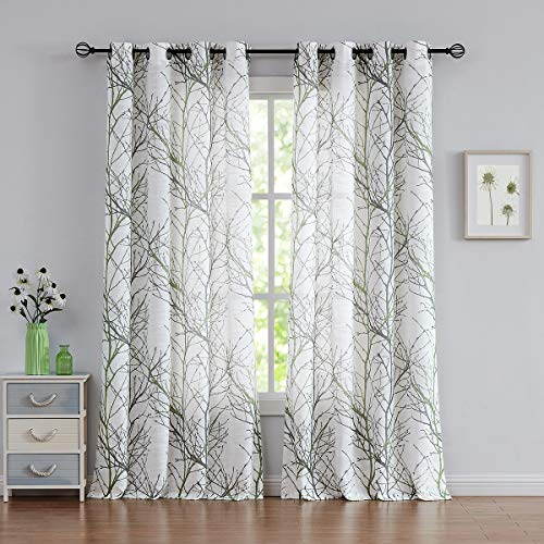White Semi Sheer Window Curtains 50' x 90' inch Drop Modern Green and Grey Branches Printing on Linen Textured White Window Treatment Sets Privacy & Light Filter Drapes for Living Room Bedroom 1 Pair