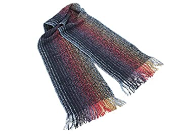 Biddy Murphy Irish Scarf Merino Wool and Cashmere Blend 62 Inches Long by 9 Inches Wide Navy and Purple Made in Ireland