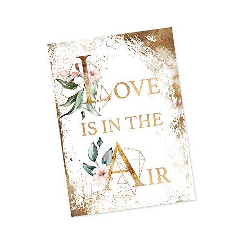 Ballonflugkarten zur Hochzeit 30 Stück C6 Gold 180507 extra leichte Flugkarten für weite Flüge, gelocht, wetterfest
