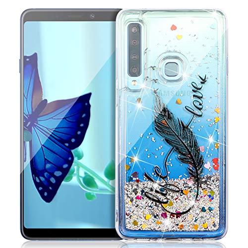 FNBK Funda compatible con Samsung Galaxy A9 2018, funda con purpurina, funda para teléfono móvil de lujo, suave, de TPU, de silicona, diseño de flores, Schwarz 8 Wörter