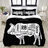 MEJAZING Duvet Cover Sheet Set,Brisket Butcher Diagram Meat Chuck Steaks Round Shortloin Food Barbecue Drink USA Beef Design Cut,Soft Microfiber Bedding Set-3 Piece Set,Queen