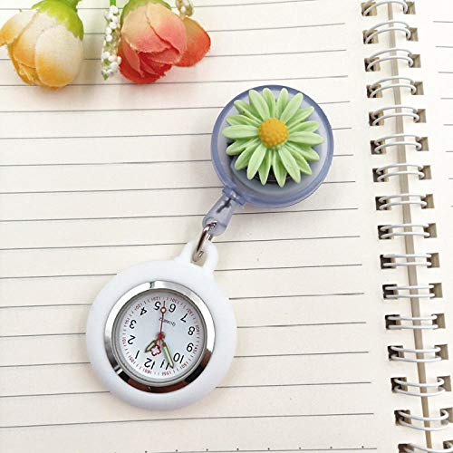 Reloj de Bolsillo Medico de Enfermera,Reloj de Enfermera de Flor de Margarita, Reloj retráctil, Reloj de Bolsillo para Examen, Reloj-QQ,Reloj de Bolsillo con Broche