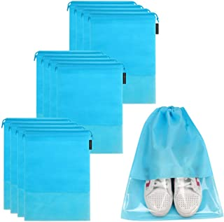 12PCS Travel Large Shoe Bags Waterproof Non-Woven Storage For Men and Women Portable Packing Organizers With Window
