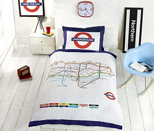 London Underground-Set Copripiumino e federe, Letto Singolo, Colore: Bianco