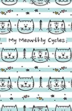 My Meowthly Cycles: Striped Kitty Cat   period tracker   tips and tricks to help with PMS symptoms   4 year monthly calendar log book