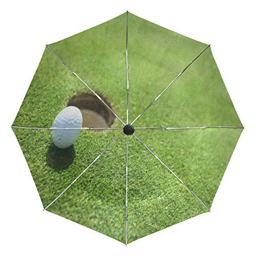 Ombrello da viaggio piccolo Antivento da esterno per pioggia Sun UV Auto compatto Ombrello da 3 pieghe Copertura - Pallina da golf Paesaggio erboso