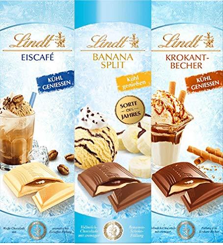 Lindt Banana Split Eiscafe und Krokant Becher Vollmilch Schokolade 100 gr. x 3