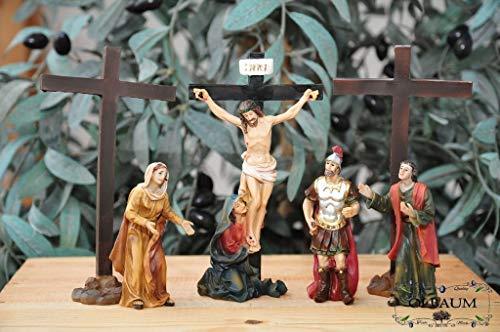 KREUZWEG Station 11-1 Kreuzigung, Jesus wird ans Kreuz genagelt, mit 3 Kreuzen und Figuren nach Mt 27,37-42,- Passion Christi - für 9-10 cm Figuren, ideal als Krippenfiguren-Zubehörset für Passionskr