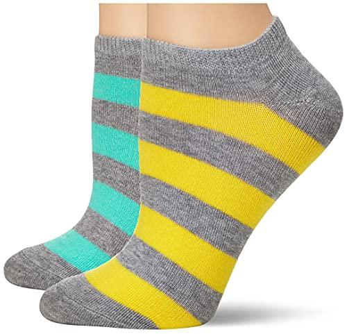 K. Bell Women's 6 Pack Fashion No Show Liner Socks, Stripe (Pastel Grey), Shoe Size: 4-10