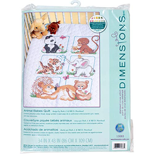 Dimensions Stamped Cross Stitch Baby Animals DIY Baby Quilt...