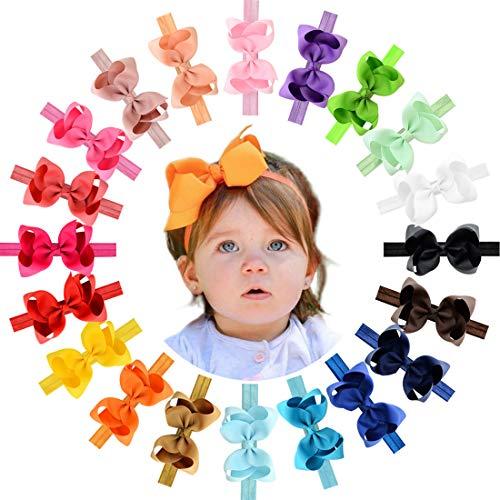 WillingTee Baby Girls Headbands 4.5 Inch Grosgrain Ribbon Hair Bows Elastic Headbands Hair Accessories for Newborns Baby Girls Infants Toddlers 20 Colors