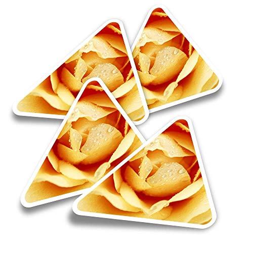 Pegatinas triangulares de vinilo (juego de 4) – Calcomanías divertidas de macro de rosas amarillas cremosas para portátiles, tabletas, equipajes, reservas de chatarra, neveras #21398